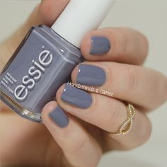 Essie Petal Pushers is a smoky stone color. It is gray with . Blue Nail, Gray Nails, Essie Nail Polish Colors, Grey Nail Polish, Fabulous Nails, Perfect Nails, Essie Petal Pushers, Cute Nails, Pretty Nails