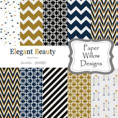 Elegant Beauty-(10)-12x12 Digital Papers-300dpi-Instant Download-Chevron-Box-Arrows-Confetti-Sea Blue-Black-Gold-White by PaperWillowDesigns on Etsy