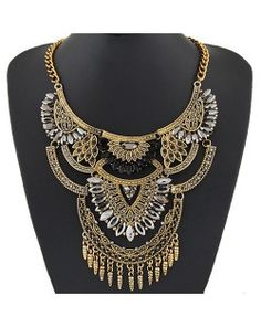 Shining Gems Combined Lotus Flowers Bold Fashion Design Golden Costume Necklace - Black and Transparent…