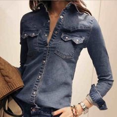 HOT-Womens-Retro-vintage-Long-Sleeve-Slim-Blue-Jean-Denim-Shirt-Tops-Blouse-69