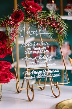 21 Winter Wedding Tips: How to Plan the Ultimate Winter Wedding - winter-wedding-drinks - Winter Wedding Drinks, Winter Wedding Decorations, Holiday Wedding Ideas, Christmas Wedding Themes, Red Winter Weddings, Romantic Wedding Centerpieces, Elegant Winter Wedding, Black Weddings, Autumn Wedding