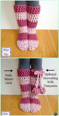 Crochet Strawberry Blossom Slipper Socks Free Pattern [Video] - Crochet High Knee Crochet Slipper Boots Patterns