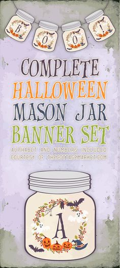 Halloween will be here in NO Time and here's a fun Free Printable Halloween Mason Jar Banner to help you get started with your decorating. These cute little Mason Jars with little bats…ghosts…jack-o-lanterns and witches hats will look fab wherever you choose to display them! So get ready to decorate the mantle or wreath…wall…hutch and …