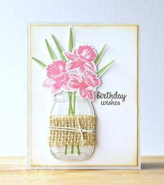 Sunny Studio Stamps: Daffodil Dreams and Vintage Jar Birthday Card by Emily Leiphart