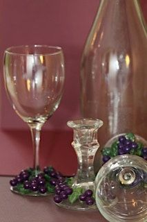 Grape - Wine Glasses - Polymer Clay - Wine Lover - Grape Decor - Purple - Hostess Gift - Grape Table Setting - Grape Leaves - Grape Vines