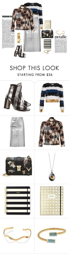 """""""Fashion metallic"""" by mbarbosa ❤ liked on Polyvore featuring Pierre Hardy, Sonia Rykiel, Golden Goose, River Island, Valentino, Alexandra Mor, Kate Spade and Tory Burch"""