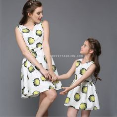 LOVEY DOVEY FASHION MOTHER-DAUGHTER MATCHING SUNFLOWER PRINTED DRESS