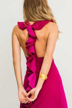 Comprar online vestido largos con la espalda abierta volantes frambuesa ajustado sin mangas crepe para invitada de boda eventos graduacion dama de honor o vestidos para boda de tarde