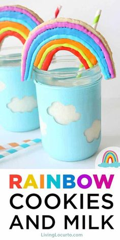 Easy Rainbow Cookies and cloud mason jar craft tutorial. Adorable fun food recipe idea for a rainbow party, birthday or St. Patrick's Day. Rainbow Sugar Cookies, Best Sugar Cookies, Sugar Cookies Recipe, Cupcake Cookies, Cookie Recipes, Party Recipes, Baking Cookies, Yummy Recipes, Snail Craft