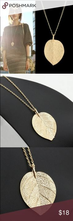 SALELong Golden Leaf Pendant Necklace Gold leaf pendant necklace Jewelry Necklaces