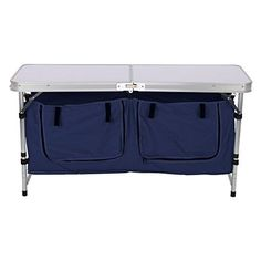 Camping Tables - Finether Lightweight Height Adjustable Aluminum Folding Table with Large 2Compartment Storage Bag for Picnic Camping Home Kitchen White *** To view further for this item, visit the image link.