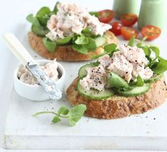 For a classy first recipe - Smoked trout & cucumber open sandwiches
