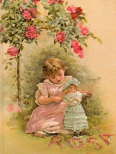 """Under the roses"", by Lizzie Mack (1880-1902)."