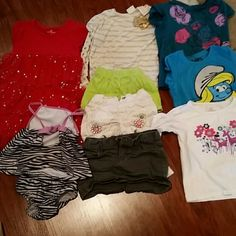 9 pc bundle girls size 5 koala kidd arizona truly all in excellent condition no rips or stains 1 2 pc zebra bathing suit by arizona 1 beautiful red sparkling dress by okie dokie. 2 long sleeved shirts (1 by truly scrumptious and 1 by okie dokie). 2 short sleeved shirts smurfs and children's place 1 circo green shorts 1 white with flowers koala kids shorts 1 gray skirt by Joe fresh I have other bundles listed also check them out and save money truly scrumptious koala kids arizona Other
