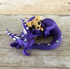 Dragon with Dog Plushie by Dragonsandbeasties