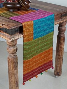 Multi-Color Tussar Silk Hand-Block Printed Patch Work and Kantha Embroidered with Pom-Pom Table Runner x Traditional Table Runners, Traditional Decor, Handmade Cushions, Handmade Table, Dining Chair Covers, Table Covers, Indian Table, Sewing Machine Stitches, Ethnic Home Decor