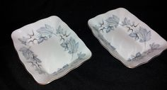 "Two Royal Albert Silver Maple 5"" x 4"" Candy Nut Dishes Gold Trim Bone China #RoyalAlbert"