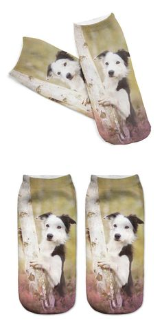 Unisex 3D Printed Cotton Socks Tree Dog Printed Casual Style 19cm Low Anklet Socks Women Calcetines Chaussettes
