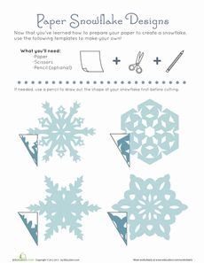Paper Snowflake Patterns Worksheet - this would be a fun activity for the kids in GU.