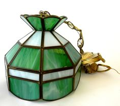 Hanging Stained Glass Green Ceiling Lamp Small