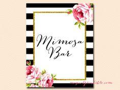 sign-mimosa-bar black stripes floral bridal shower sign wedding