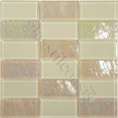 Quartz Cream/Beige 2'' x 4'' Glass Glossy & Iridescent Tile