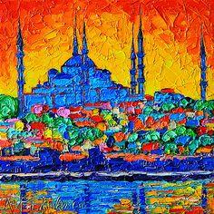 ANA MARIA EDULESCU - HAGIA SOPHIA AT SUNSET ISTANBUL ABSTRACT CITYSCAPE PALETTE…