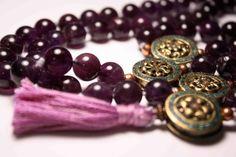 Deep Rich Purple Amethyst 108 Bead Meditation Prayer by QuietMind, $145.00
