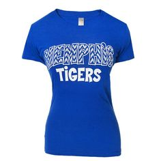 Womens Memphis Tigers Chevron T-Shirt  100% cotton royal blue Next Level® tee featuring Memphis Tigers with chevron design.