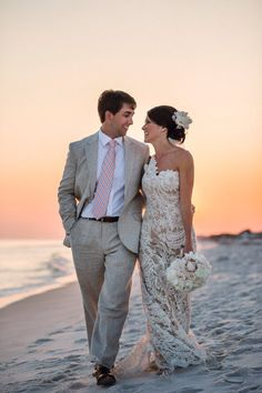 Beautiful sunset on the beach picture of the bride and groom