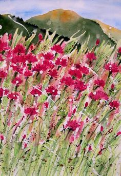 Elizabeth Anderson- field of pink bachelor buttons