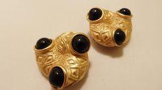 Vintage Gold Tone Black Enamel Clip On Earrings by TheEarringPlace