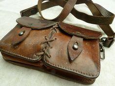 French vintage poachers bag for carrying gun cartridges