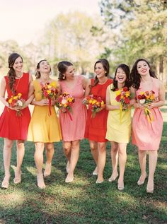 Red, yellow, and pink bridesmaids