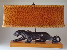 Vintage Ultimate 1950's Mid Century Panther T V Lamp Lepord Shade Unique   eBay