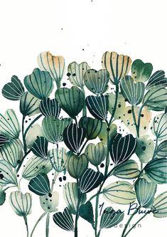 Abstract green plant - watercolor art print Watercolor Whale, Watercolor Plants, Watercolour Painting, Floral Watercolor, Artwork Prints, Painting Prints, Protea Flower, Green Plants, Original Paintings