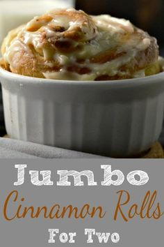 These homemade Jumbo Cinnamon Rolls are incredibly soft and fluffy with a delicious sugar cinnamon filling and sweet cream cheese frosting. As I'm writing this post on Valentine's Day I find myself in love with these cinnamon rolls! This small batch recip Small Desserts, Mini Desserts, Just Desserts, Dessert Recipes, Cherry Desserts, Pudding Desserts, Italian Desserts, Breakfast Recipes, Mug Recipes
