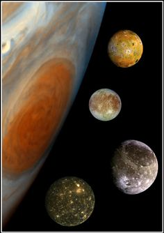 Jupiter and Galileian moons to scale. Callisto image from Voyager 2, other from Galileo mission.