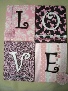 fabric covered canvas with wooden letters wall hanging
