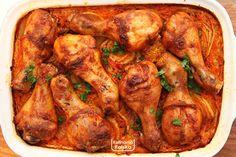 kurczakmpieczony-na-ryzu-przepis-3 B Food, Chicken Wings, Food And Drink, Turkey, Meat, Cooking, Recipes, Impreza, Essen