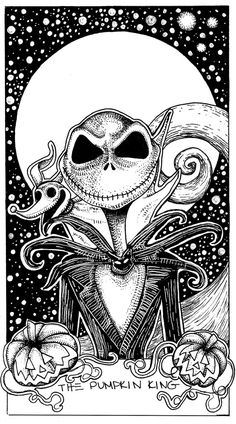 Jack Skellington Nightmare Before Christmas The Pumpkin King Tarot Card Illustration Arte Tim Burton, Tim Burton Kunst, Nightmare Before Christmas Drawings, Arte Peculiar, Jack The Pumpkin King, Halloween Drawings, Halloween Tattoo, Halloween Prop, Nightmare Before Christmas