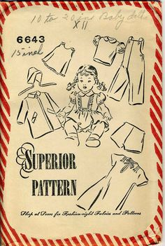 Vintage Superior 6643 Doll Clothing Sewing Pattern by RomasMaison, $26.00