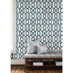 Navy Grand Trellis Peel And Stick Wallpaper Sample, Blue