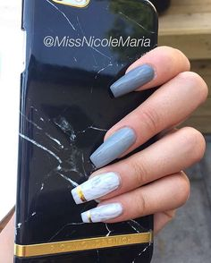 White Marble + Light Gray tapered square tip long nails #nail #nailart