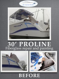 This 30' Proline had an unfortunate accident, don't worry it'll be fixed by tomorrow. Fiberglass repair and painting.  Check out more pictures on Facebook: https://www.facebook.com/JpcMarineWorks
