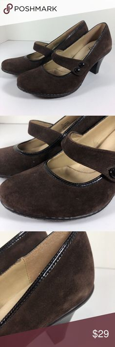 Eurosoft Sofft Brown Suede Leather Mary Jane Heels Eurosoft By Sofft Heels  Brown Suede Leather  Womens Size 7.5 M  Mary Jane styling with single strap across  Button Fastend Very narrow patent trim around instep Minimal wear - appear unworn but tried on Sofft Shoes Heels