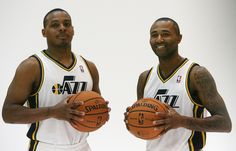 New Jazz guards Randy Foye and Mo Williams are photographed during Jazz media day in Salt Lake City on Oct. 1, 2012. (Steve Griffin | The Salt Lake Tribune)