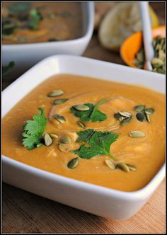 Red Lentil-Pumpkin Soup, when I made this I didn't use canned pumpkin but rather fresh buttternut sqush. But you do what's best for you.