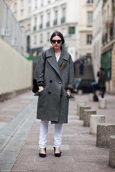 Coat w/ tortie cat brooch