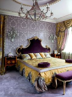 Baroque style bedroom with lavender Damask wallpaper